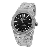 Часы Audemars Piguet Royal Oak 41mm (Механика ETA) Silver/Black. Реплика: ELITE.