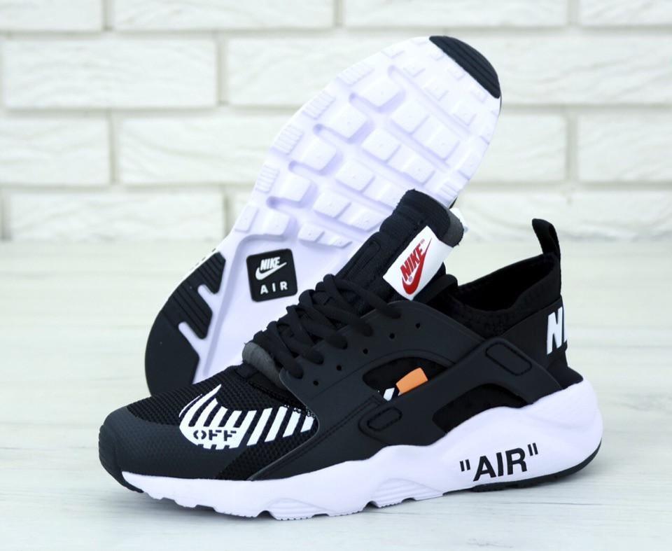 Женские кроссовки Nike Huarache black white x Off-white