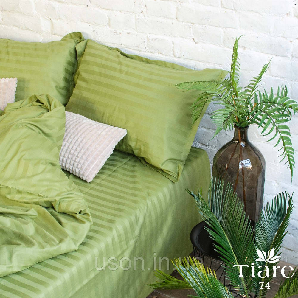 Комплект постельного белья страйп сатин Тиара евро размер 74