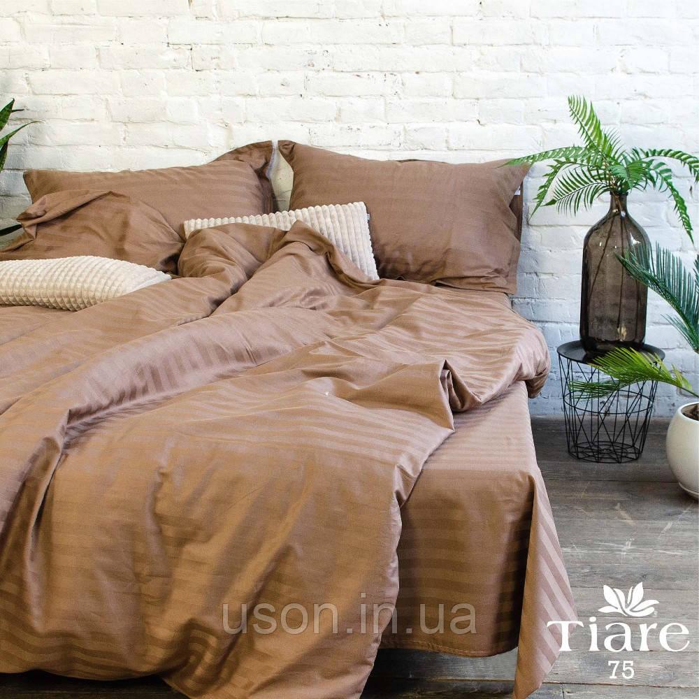 Комплект постельного белья страйп сатин Тиара евро размер 75