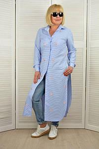 Рубашка макси с разрезами - Модель 1702-4