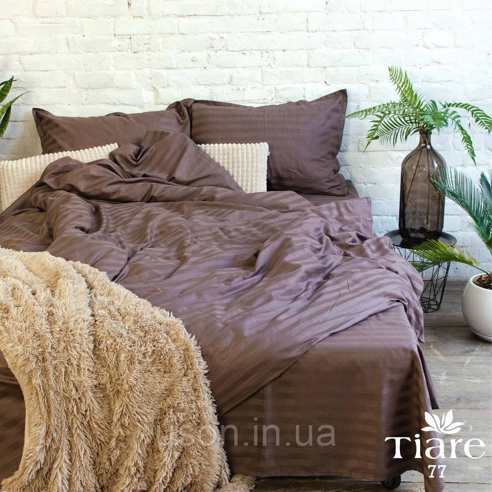 Комплект постельного белья страйп сатин Тиара евро размер 77
