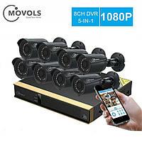 MOVOLSкомплект видеонаблюденияCCTV 8CH 8 камер 1080P Внешние, погодозащитные, Ночное видение.