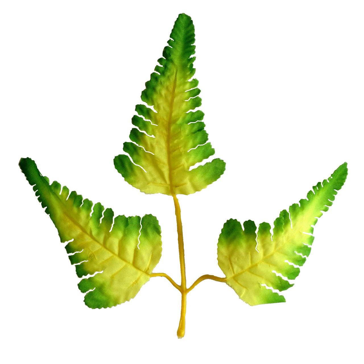 Лист папоротника салатовый 3-ка, 17,5 см (50 шт. в уп.)