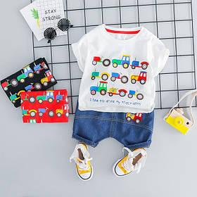 Летний костюм на мальчика  футбока +шорты джинс 1-2 года белый Машинки