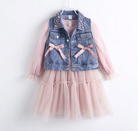 Комплект: платье и жилет Жемчужинка (роз)  120