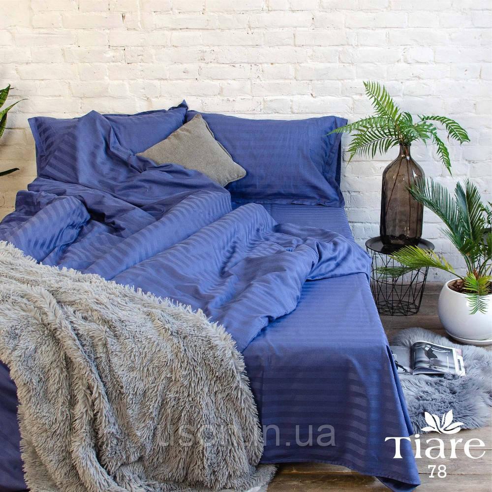Комплект постельного белья страйп сатин Тиара евро размер 78