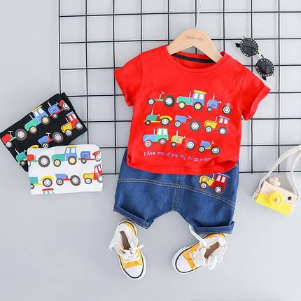 Летний костюм на мальчика  футбока +шорты джинс 2-3 года красный Машинки, фото 2