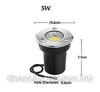 Світильник ґрунтовий QR-01 LED COB 5W green 230V IP65 65мм * 75мм, фото 2