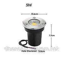 Світильник грунтовий QR-01 LED COB 5W Blue 230V IP65 65мм * 75мм, фото 2