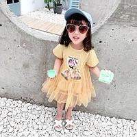 9819e8693bf Нарядное детское летнее платье с фатиновой юбкой 1-4 года желтое