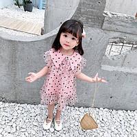 85a9271b7d8 Нарядное детское летнее платье в горошек 1-4 года розовое