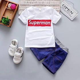 Літній костюм на хлопчика футбока +шорти 1год Супермен білий