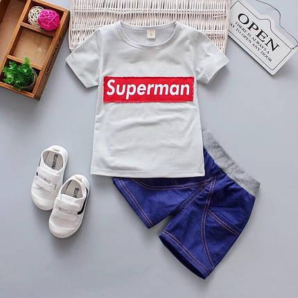 Летний костюм на мальчика  футбока +шорты  1  года  Супермен серый, фото 2