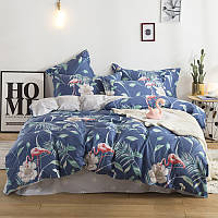 Комплект постельного белья Фламинго и белый цветок (двуспальный-евро) Berni