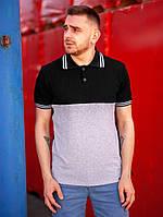 Мужская футболка поло BEZET Young blk/grey '19, мужское черное поло, мужская черно-серая тениска