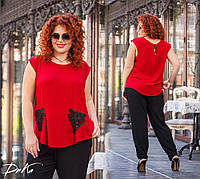 Женский летний брючный костюм №4135 (р.50-56) красный, фото 1