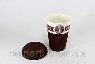 StarBucks керамический стакан с селиконовой крышкой и чехлом., фото 3