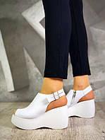 Модные босоножки женские на высокой платформе из натуральной кожи белые, модная женская летняя обувь