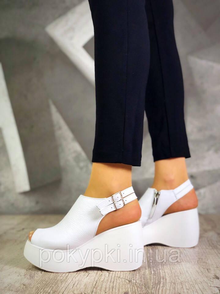c64fa5d74 Модные босоножки женские на высокой платформе из натуральной кожи белые,  модная женская летняя обувь -