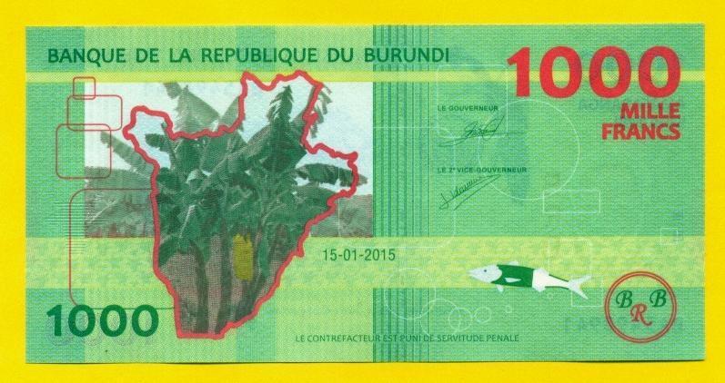 Бурунди 1.000 франков 2015 год состояние UNC
