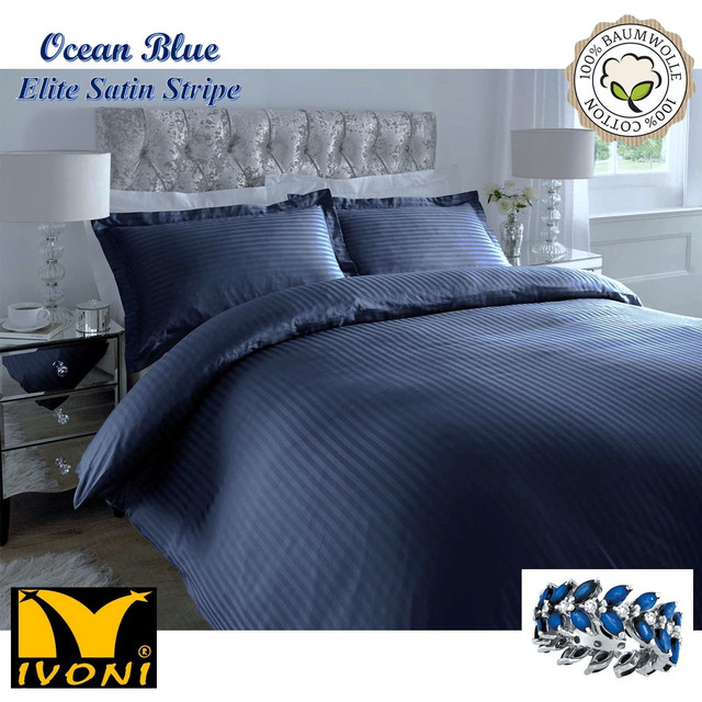 "Стандартные комплекты. Коллекция ""Elite Satin Stripe 8х8 mm Ocean Blue"". Страйп-Сатин (Турция)."