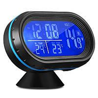 Автомобільні годинник з термометром і вольтметром VST 7009V Black (2_002028)