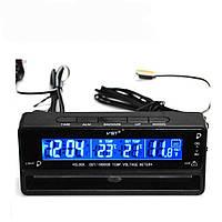 Автомобільні годинник з термометром і вольтметром VST 7010V Black (2_002029)