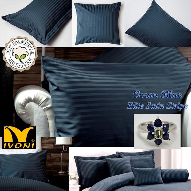 """Наволочки. Коллекция """"Elite Satin Stripe 8х8 mm Ocean Blue"""". Страйп-Сатин (Турция). Хлопок 100%"""