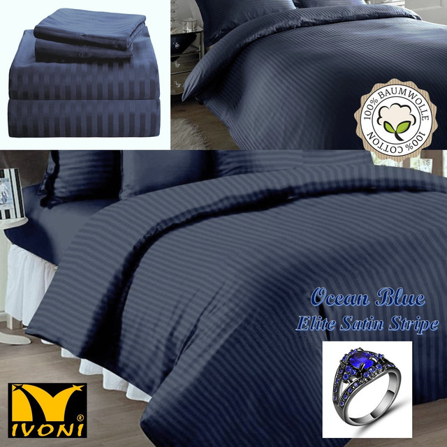 "Пододеяльники. Коллекция ""Elite Satin Stripe 8х8 mm Ocean Blue"". Страйп-Сатин (Турция). Хлопок 100%"