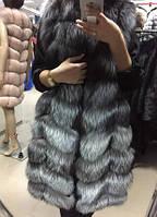 Акція!!! розкішний жилет з хутра чорнобурки 90 см