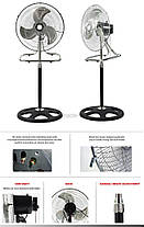 Вентилятор металлический, очень мощный, 3 в 1: напольный, настольный, настенный FS-4521, бытовой вентилятор, фото 3