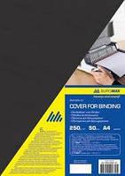 "Обложка картон для биндера ""под кожу"" А4 BUROMAX ВМ0580-01 250 г/м2 50 шт. (черная)"