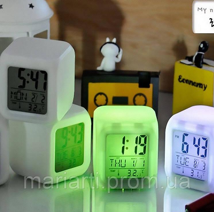 Часы хамелеон с термометром будильник ночник.., Качество