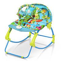 Качалка-шезлонг детский 2в 1 от 0 месяцев вибро, музыка, дуга