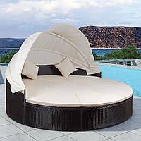 Шезлонг кровать, диван, лаунж из ротанга 230 см. с LED подсветкой