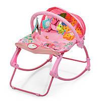 Качалка детская, шезлонг для новорожденных 2в 1 от 0 месяцев вибро, музыка, дуга