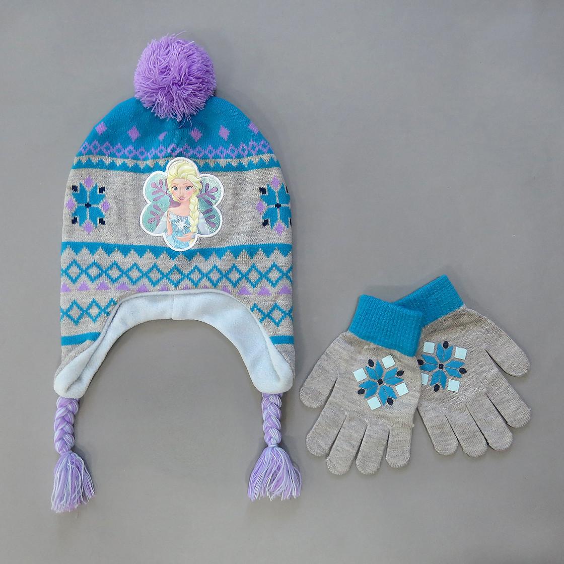 """Теплая шапка """"Эльза"""" с перчатками для девочки. 50-55 см"""