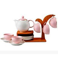 Lefard Чайный набор Catherine На бамбуковой подставке, розовый