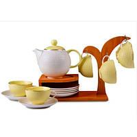Lefard Чайный набор Megan на бамбуковой подставке, желтый