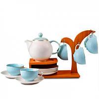 Lefard Чайный набор Lydia на бамбуковой подставке, голубой