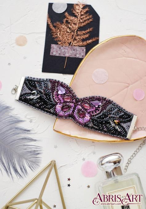 Набір для вишивки бісером прикраса-браслет Ліловий помах