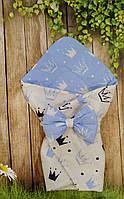 Конверт- одеяло  для новорожденного Короны, фото 1