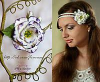 """""""Бело-фиолетовая эустома"""" заколка цветок ручной работы."""