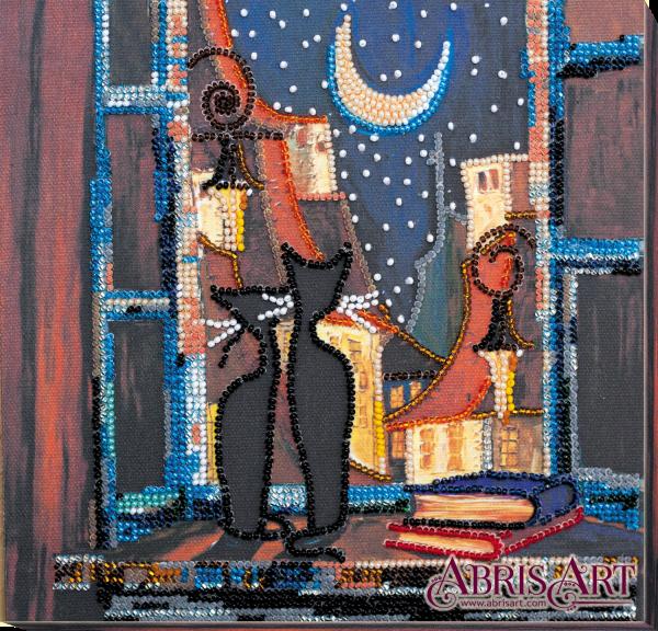 Набор-миди для вышивки бисером на натуральном художественном холсте В окошке кошки