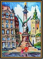 Схема вышивки бисером на габардине Памятник Адаму Мицкевич