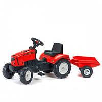 Falk Детский трактор на педалях Lander Red с прицепом
