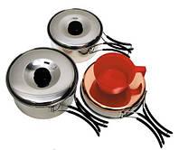 Столовый набор из нержавейки (сковородка, кастрюли, чашка)