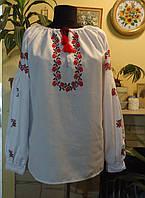 """Жіноча сорочка-вишивака з довгим рукавом """"Трояндочки"""" на білому  ручна робота розмір L-XL ,бохо-стиль"""