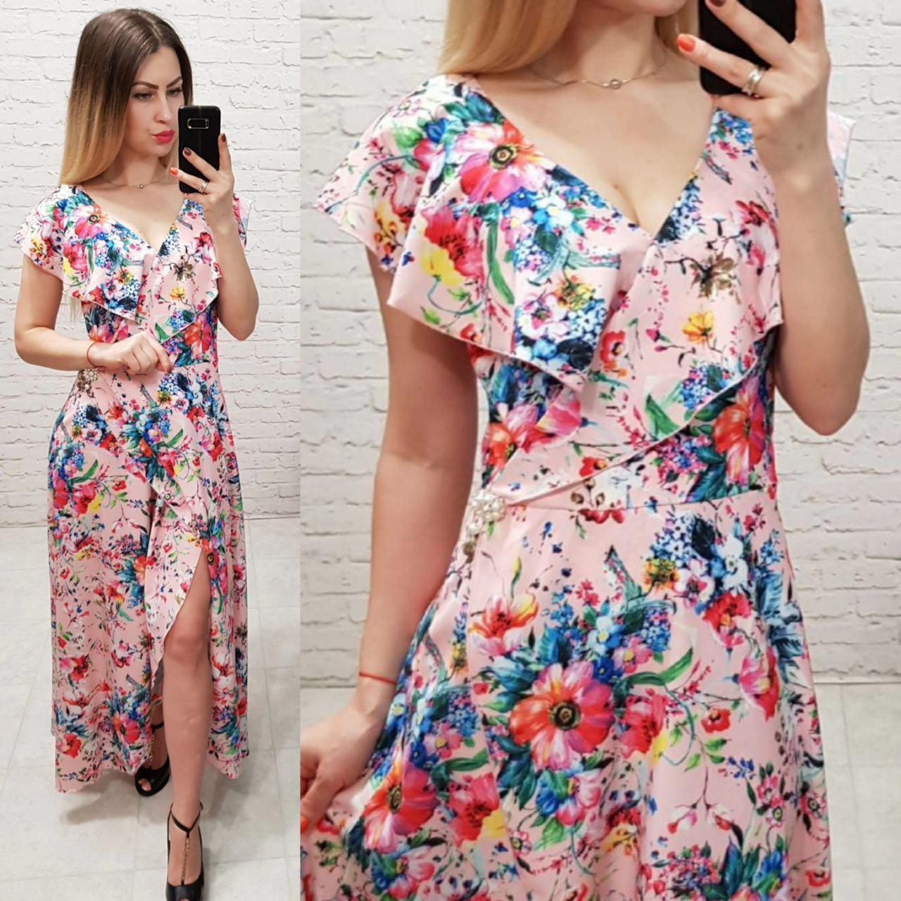 Новинка!!! Жіночна сукня на запах з брошкою, довжина максі, принт маки на пудровом